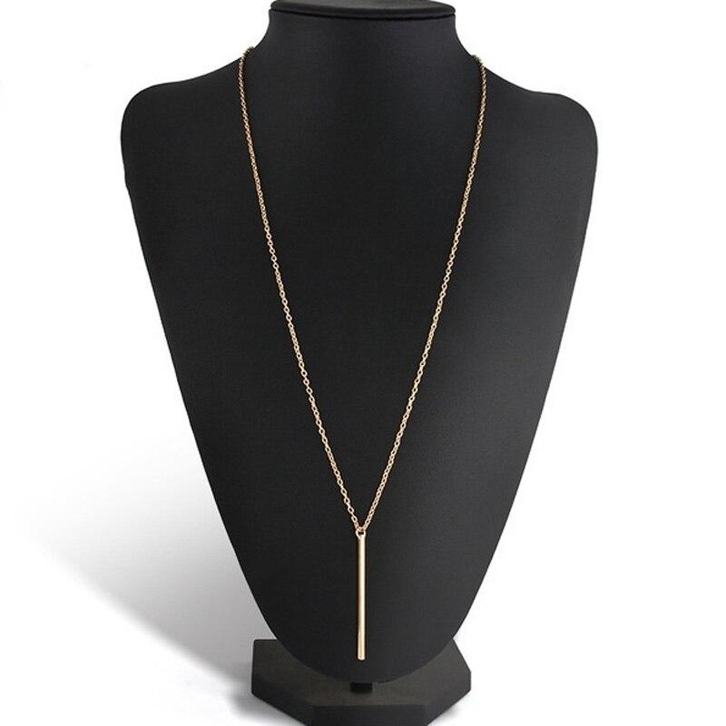 Sale 1PC Hot Trendy Alloy Copper Long Link Chain Bar Pendant Women Lady Girl Pendant Necklace Golden Silvery