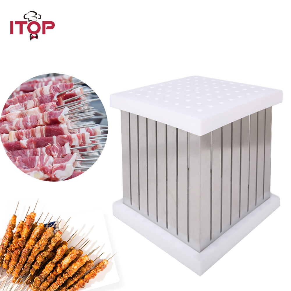 ITOP BBQ 64 Shewers Kebab Maker Box Stainless Steel Kebab Brochette Skewers For BBQ Grill Accessories Tool 1pc hot sale 100%quality guaranteed doner kebab slicer two blades electrical kebab knife kebab shawarma gyros cutter
