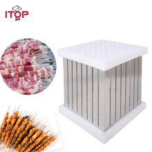ITOP BBQ 64 Shewers Kebab Maker Box Stainless Steel Brochette Skewers For Grill Accessories Tool