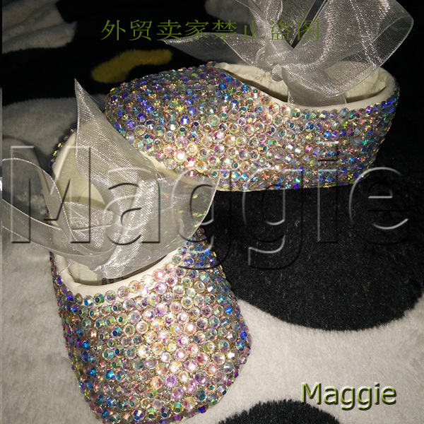 free shipping princess ribbon AB rhinestone baby Shoes handmade pearl baby toddler bling lovely fashion crystal child girl shoes