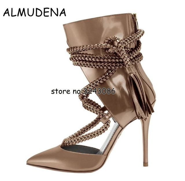 651b35750d8 Rope Lace Up Women Pointy Toe Stiletto High Heels Ankle Booties Black Brown  Leather Woman Cut-outs Rome Style Sandal Boots Shoes