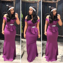 Grape African Mermaid Bridesmaid Dresses With Sash Beads Off