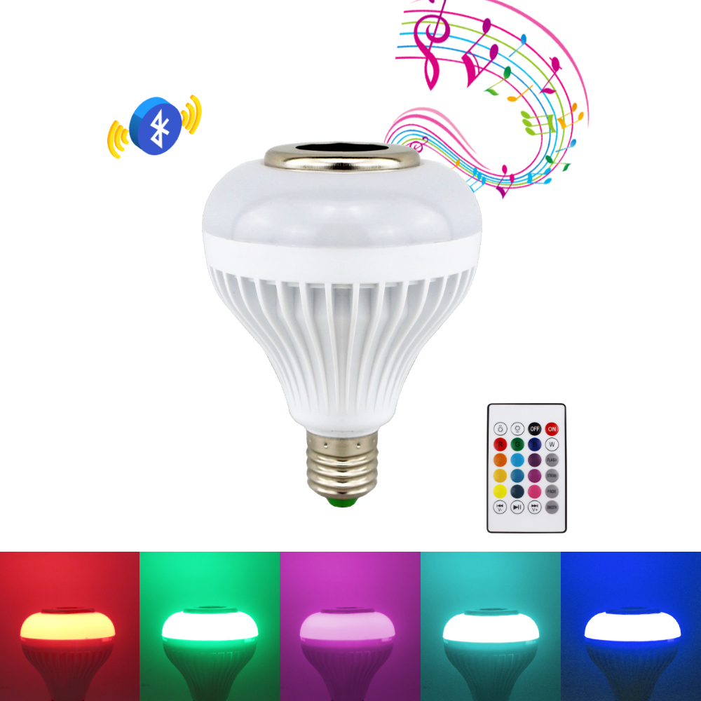 E27 Smart RGB RGBW Wireless Bluetooth Speaker Bulb Music Playing Dimmable LED Bulb Light Lamp Audio with 24 Keys Remote Control lumiparty intelligent e27 led white rgb light ball bulb colorful lamp smart music audio bluetooth speaker with remote control