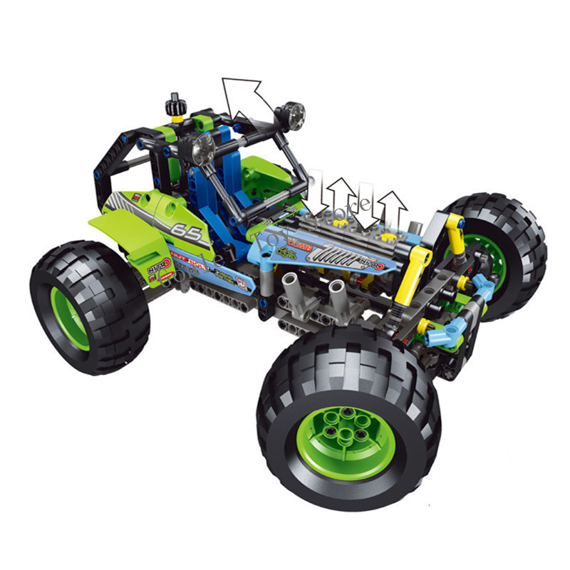 Compatible 42037 NEW 2 In 1 Technic Formula Off-Roader Racing Car Model Building Block Toys LELE 38001 DIY Gifts For Children 608pcs race truck car 2 in 1 transformable model building block sets decool 3360 diy toys compatible with 42041