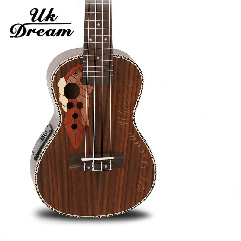 Electric Guitar 23 Inch With Electric Box Full Rosewood Grape Hole Ukulele 4 Strings 18 Frets Guitar Guitarra Electric UC-73MEQ savarez 510 cantiga series alliance cantiga normal high tension classical guitar strings full set 510arj