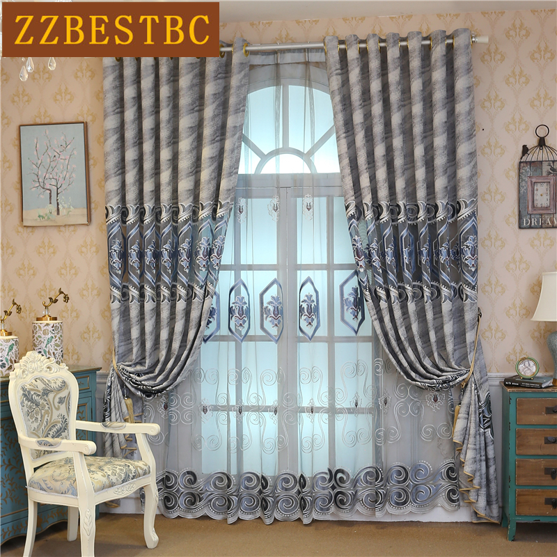 Europe And American Style Luxury Grey Chenille Curtains