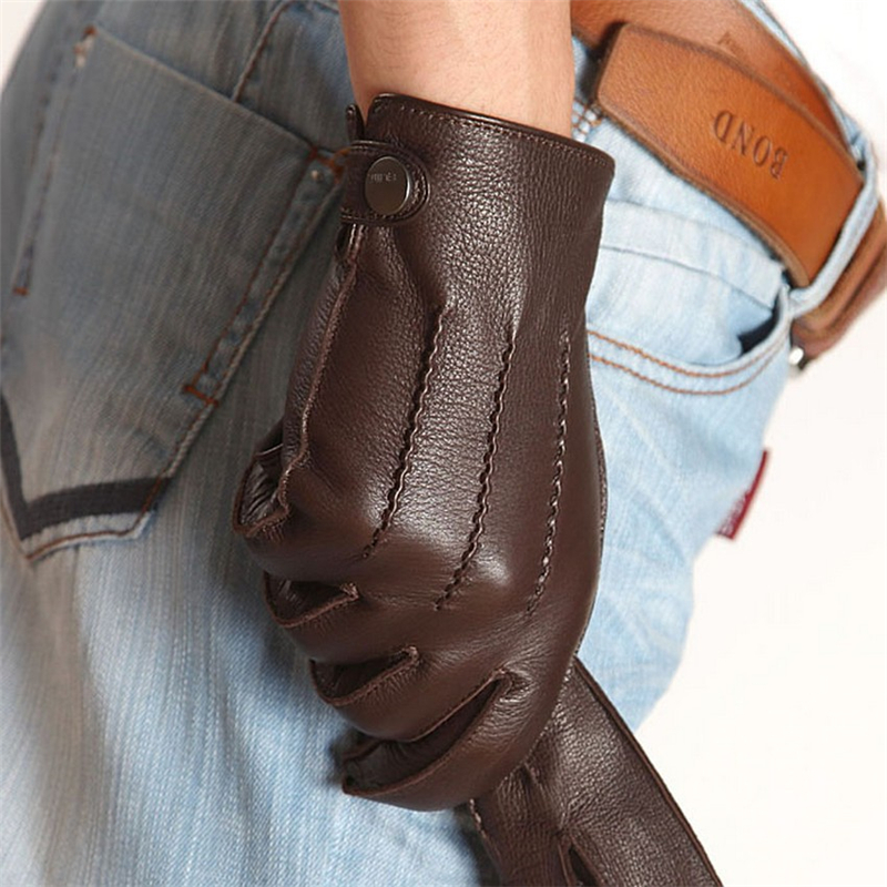 2018 New  High Quality Rushed Men Genuine Leather Gloves Luxury Deerskin Glove Wrist Driving Winter Cashmere Lining EM012WR-5