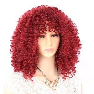Image 1 - AmirวิกผมAfro Kinky Curly Wigsสำหรับผู้หญิงเส้นใยสังเคราะห์ทนความร้อนสีดำสีน้ำตาลสีแดงเต็มวิกผมคอสเพลย์วิกผม