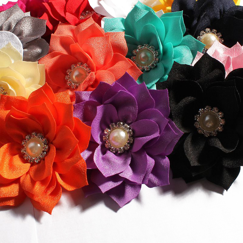 120pcs lot 3 6 13colors Lotus Flower With Rhinestone Pearl Button For Kids Hair Accessories Double
