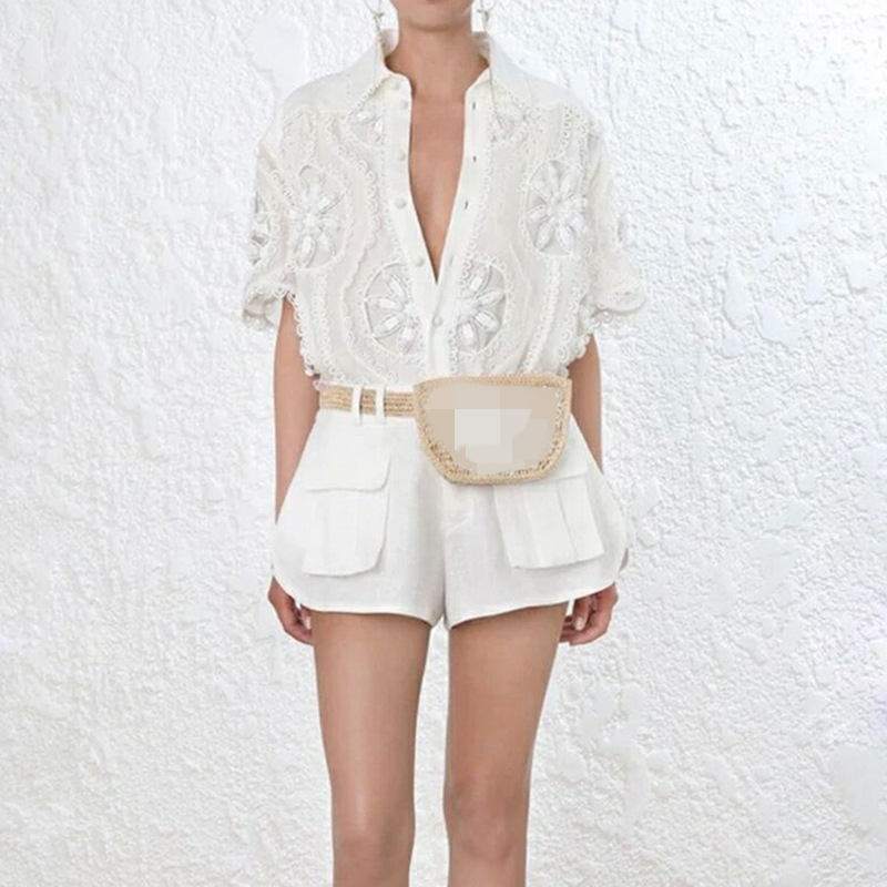 Women White Blouses 2019 Runway Hollow Out Tops