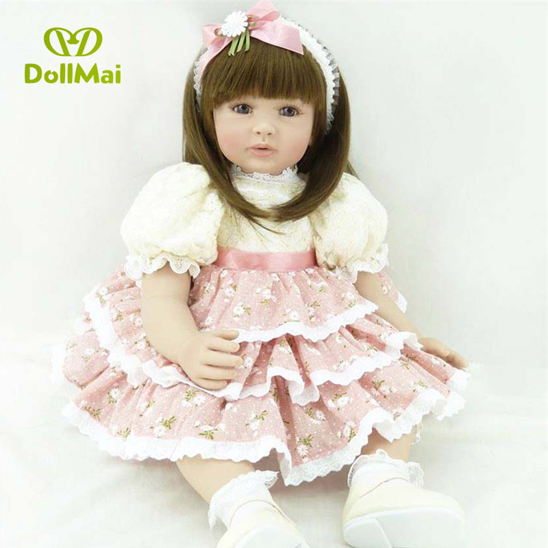 60cm Silicone Reborn Baby Doll Toys 24inch Vinyl Princess Toddler Girl Babies Doll Birthday Gift Play House Toy Real touch doll60cm Silicone Reborn Baby Doll Toys 24inch Vinyl Princess Toddler Girl Babies Doll Birthday Gift Play House Toy Real touch doll