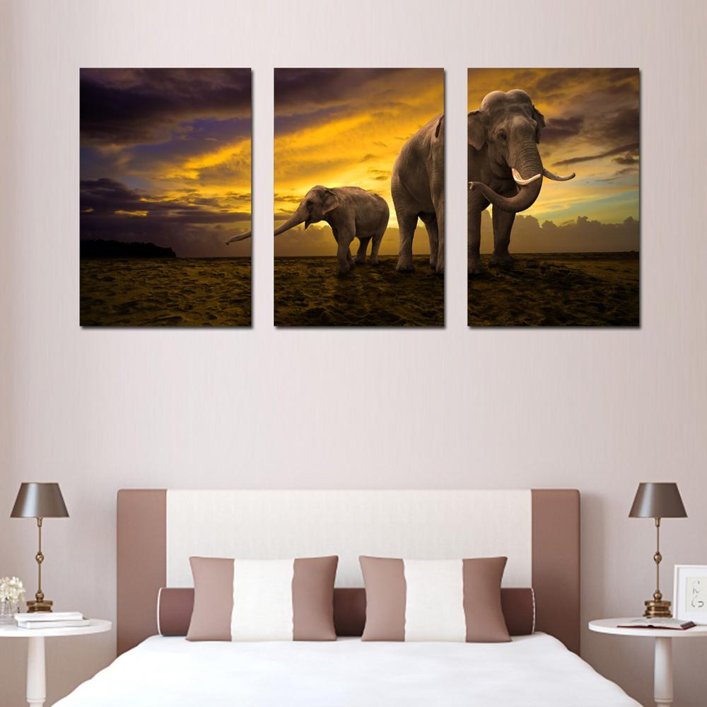 3 Panel Wall Art Two elephants Canvas Picture Painting Modern living ...