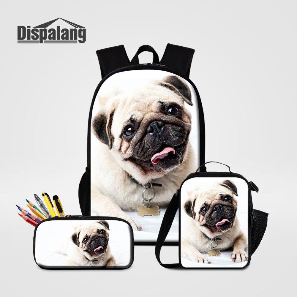 16 pouces grand sac à dos Capcity avec porte-crayon sac à lunch 3 ensemble pour l'école garçons filles Animal chien impression sac à dos enfants