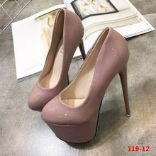 16CM round super high heels fine with patent leather waterproof shoes fashion women's singles high-heeled shoes