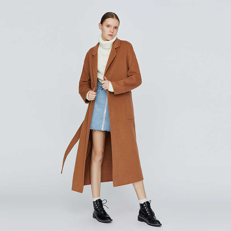 Toyouth Loose Warm Wool Blends Long Winter Coat Turn-down Collar Adjustable Belt Wool Coats Women Office Work Wear legant Coat