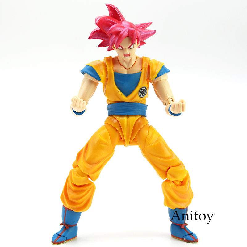 Image 2 - SHF Dragon Ball Super Saiyan God Son Goku Red Hair Gokou Dragon Ball PVC Action Figure Collectible Model Toy 15cm-in Action & Toy Figures from Toys & Hobbies