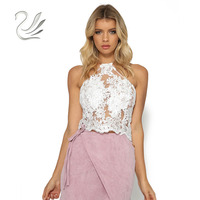 Summer Women Lace Crop Tops Embroidery White Backless Sexy Gauze Cami Spaghetti Strap Short Beach Party