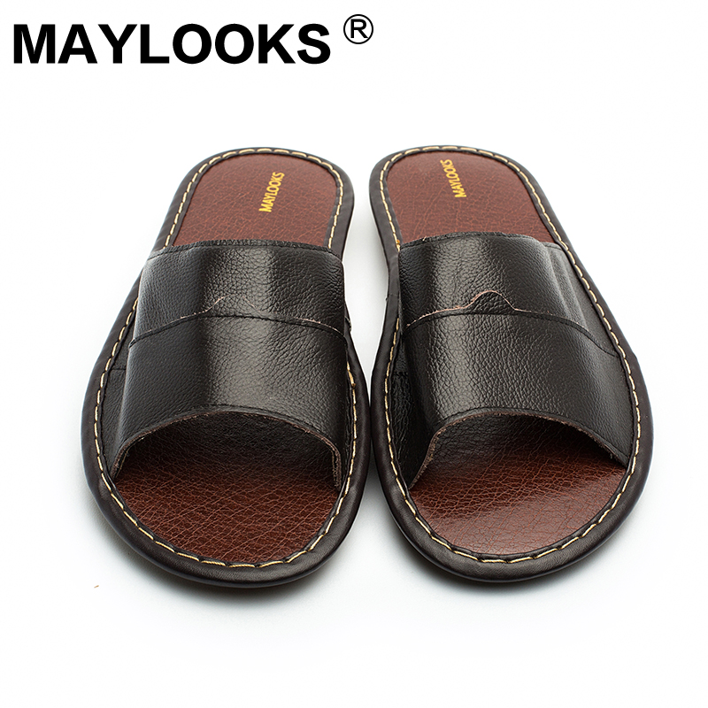 Men's Slippers Spring And Summer genuine Leather Home Indoor Slip - Men's Shoes - Photo 5