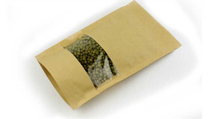 50 Pcs/lot Kraft Kantong Kertas dengan Jendela Berdiri Zipper/Zip Lock Perhiasan Kemasan Kantong Kertas untuk hadiah/Teh/Natal