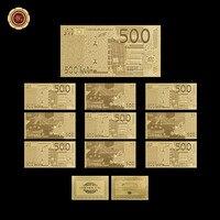 10 adet/grup 500 Euro 24 k Altın Folyo Çift Tasarım Euro Banknotları Altın Varak Kaplama Banknot/kağıt Para için Colletion