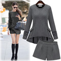 New Slim  Knitted 2  Suit Female 2 Piece Set Women Plus Size XL-5XL 2017 Autumn Winter Clothing Set Ruffles Sweater + Shorts