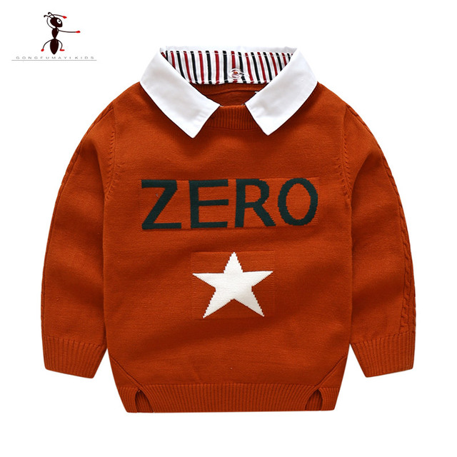 Kung Fu Ant Autumn Winter Red Orange Casual Plaid Toddler Boys
