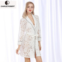 Summer Lace Robes Women Sexy Perspective Hallow Out Robe Sleepwear Drop Shipping AP343