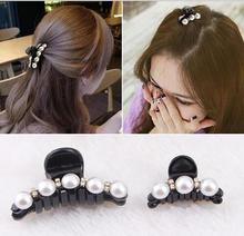 New Women Clip Claws Girls Headwear Ornaments For Hair Accessories Trendy Crab Hairpins Rhinestone Pearls Shiny Luxury