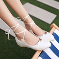 Sweet style women shoes Flats Spring/Autumn pointed toe flats Cross-tied Floral Beach Flats Casual shoes big size 34-43