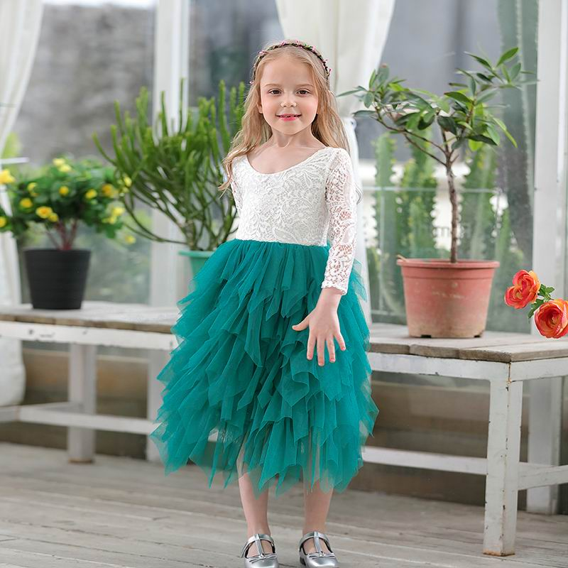 Retail New Girls Princess Dresses Lace Flower Tiered Tulle Maxi Dress Long Sleeve For Wedding Party Children Clothes 1-9Y 17104 Платье