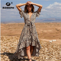 8ab85164e Leopard Women Dress Ruffles Short Sleeve Woman Dress Deep V Neck Fashion  Female Runway Irregular Length