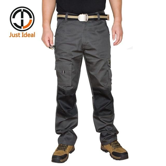 67aa9b6ae38 Pantalones de trabajo para hombres pantalones de carga gris pantalones  casuales Multi bolsillo militar pantalones largos
