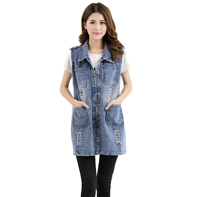 5XL Plus Size Loose Denim Vest For Women Vintage Hole Pocket Long Sleeveless Jeans Jacket Female Coat Summer Casual Waistcoat