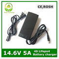 14.4 or 14.6V 14.6V5A charger for 4Series  3.2V*4series  Lifepo4 battery pack  with 5A constant charging current