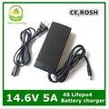 14.4 ou 14.6 V carregador 14.6V5A para Série 4 3.2 V * 4 series bateria lifepo4 com constante 5A corrente de carregamento