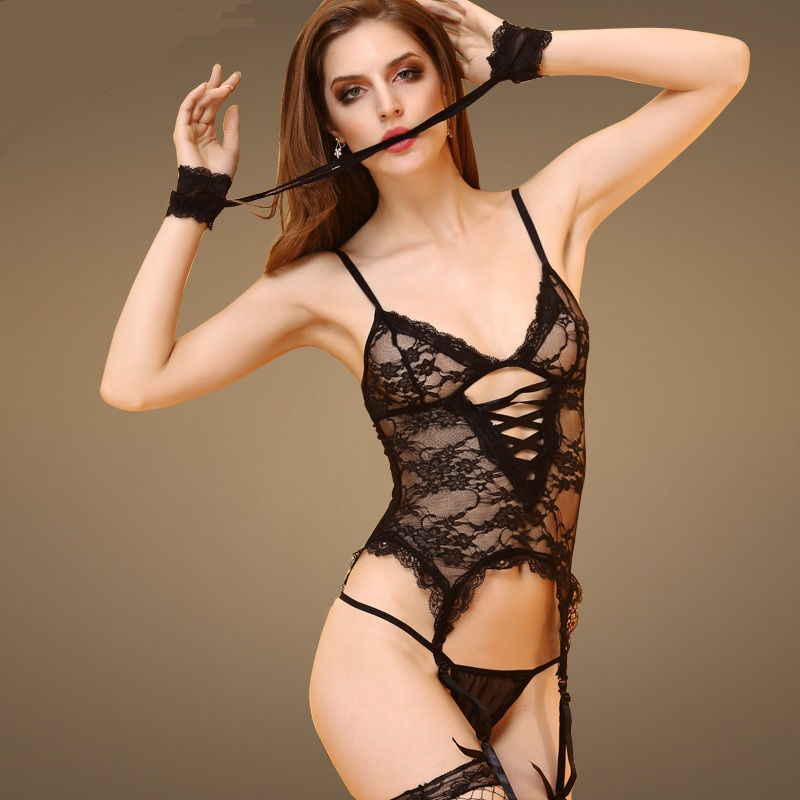 EB638 European and Americans Sexy Underwear lace Suspenders perspective temptation Appeal conjoined exposed breast Lingerie Sets