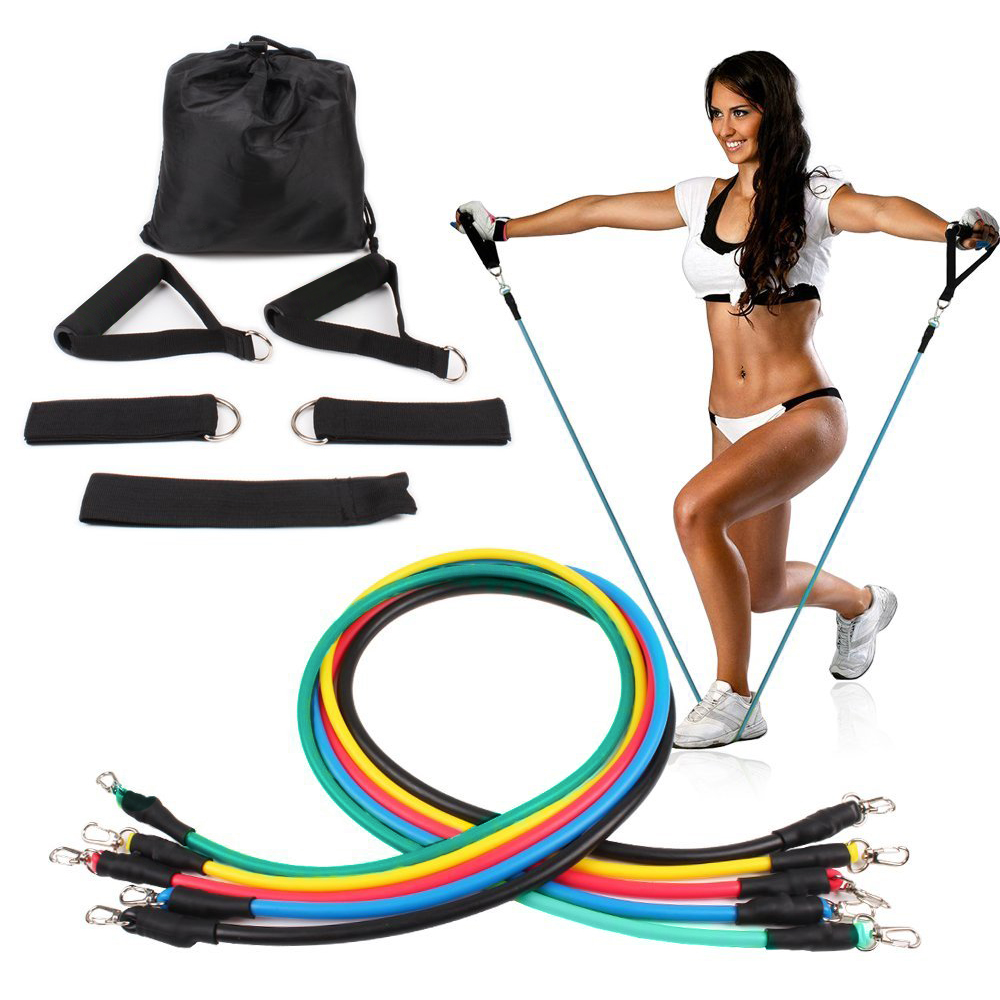 11 pcs/ensemble Corde de Traction Des Exercices de Fitness Bandes de Résistance Crossfit Latex Tubes Pédale Excerciser Corps D'entraînement Workout Yoga