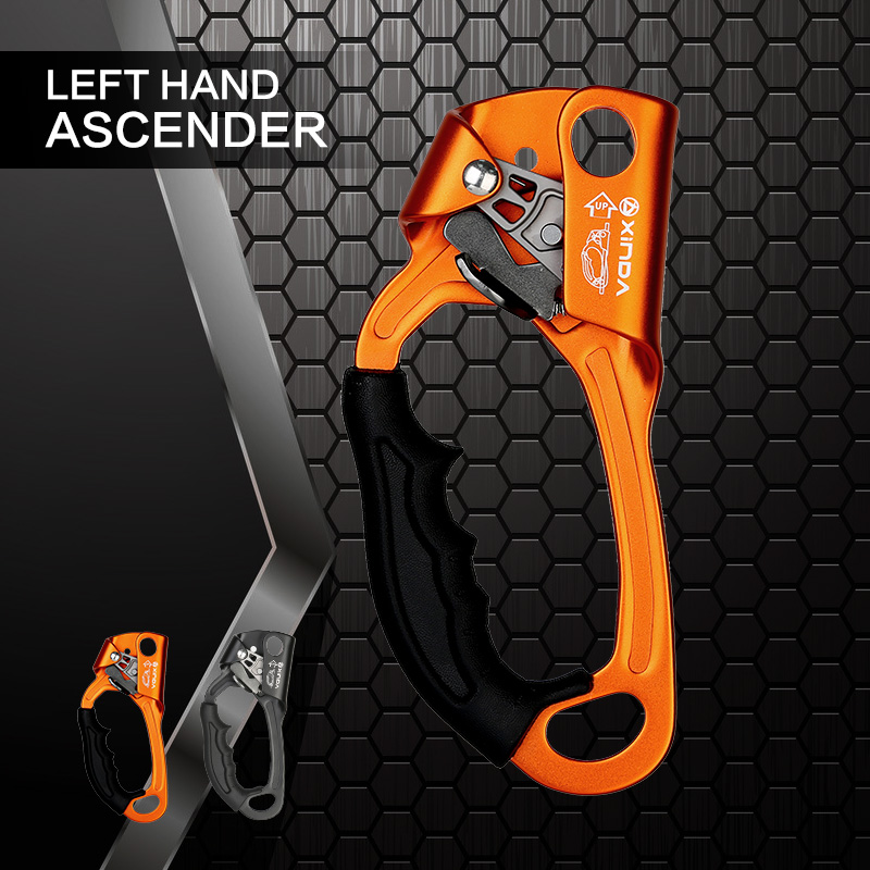 XINDA 2018 New Outdoor Sports Rock Climbing Left Hand Grasp 8mm-13mm Rope Hand Ascender Device Mountaineer Riser Tool Kits