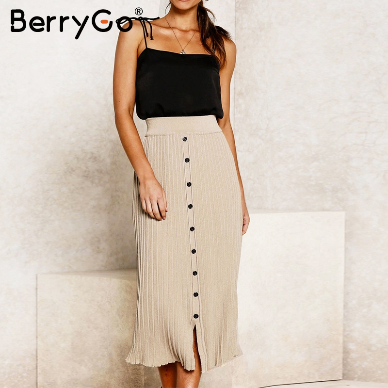BerryGo Vintage Bodycon Knitted Skirts Women Buttons A-line Striped Midi Skirts Female Elegant Office Ladies Pencil Skirts 2019