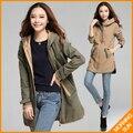 XL, XXL, XXXL тонкий army green хаки новый 2017 женщин дамы осень зима вскользь пальто корейский ветровка ветровка #289