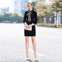 Kısa Elbise Yüksek Kalite 2017 Sonbahar Kış Yeni Kadın Parti Moda Ofis Noel Vintage Zarif Siyah Uzun Kollu Elbiseler