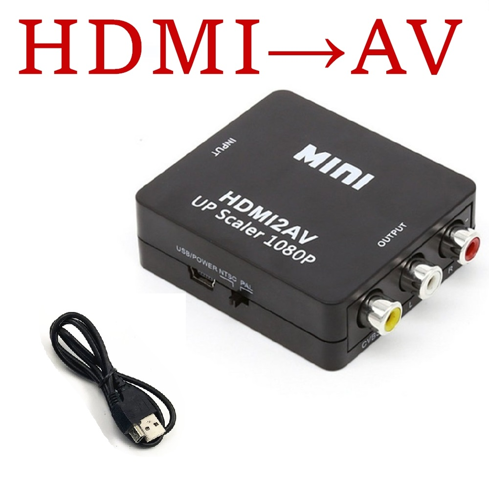 Mini Av Adapter Hdmi Converter 3.5mm Audio Vga2av / Cvbs To Pc Hdtv Converter For Notebook Pc For Hdtv Projector