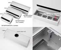 Premintehdw Aluminum Rectangle Wire Cable Grommet Box Office Table Cabinet Desk Flap Brush Multimedia USB Box Socket