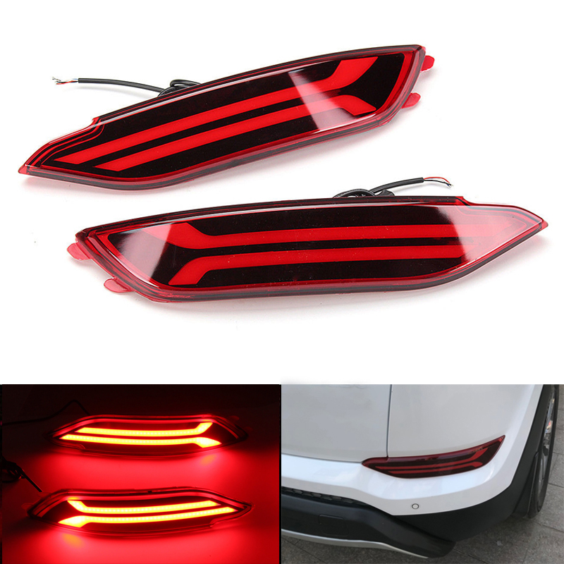 Pair LED Rear Bumper Reflector Light Car Driving Brake Fog Trim Molding Tail Lamp  For Hyundai Tucson 2015 2016