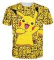 Mulheres / homens 3d dos desenhos animados pokemon pikachu impressão Harajuku camiseta camisa masculina tamanho S-XXL