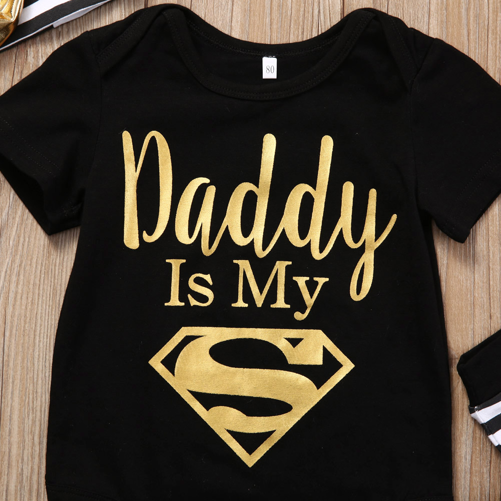 Dad is My Superman Newborn Infant Baby Girls Clothes Short Sleeve Romper Striped Legging Warmer Headwear 3PCS Outfit Clothing 4