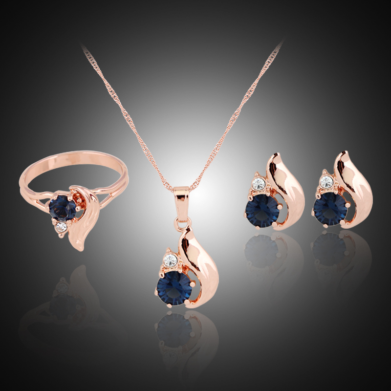danbihuabi 2017 fashion new Woman rose gold Jewelry Set Zircon Crystal Earrings ring Necklace wedding jewelry sets