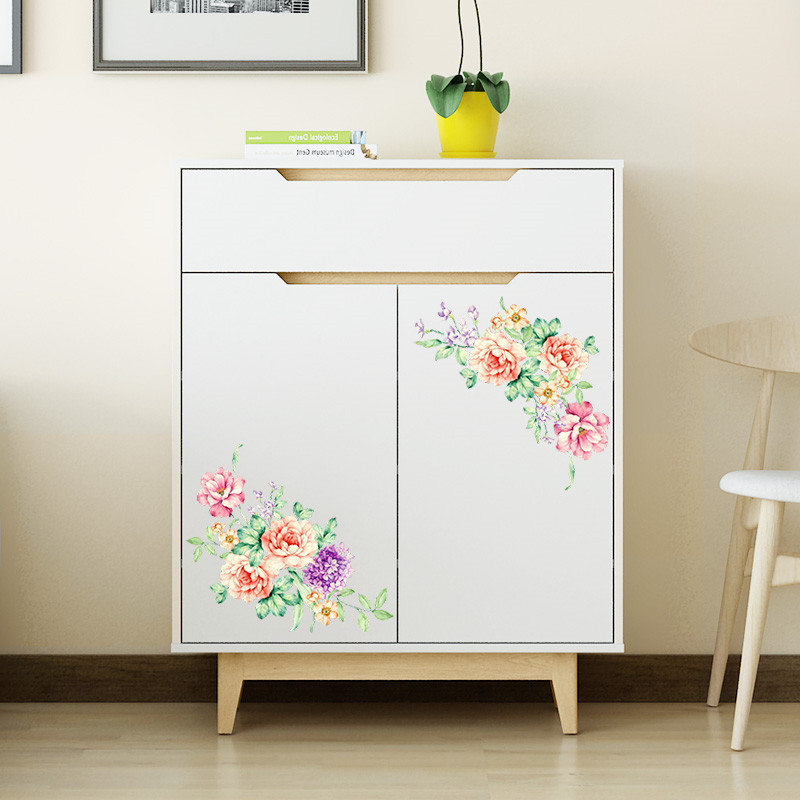 HTB1XHaJmPuhSKJjSspmq6AQDpXad romantic colorful peony flowers wall stickers art home decor pvc vinyl wall decals for kids living room toilet fridge decoration