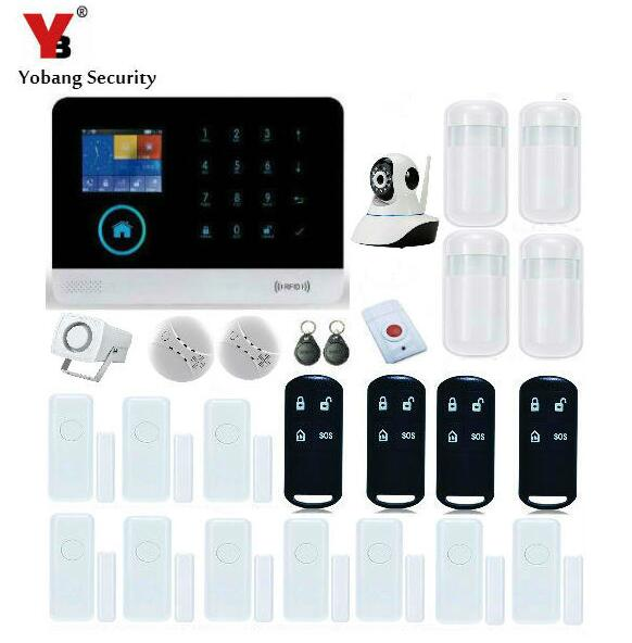 Yobang Security Wireless WiFi GSM Alarm System With PIR Motion Sensor IP Camera APP Control Sensor Alarm Fire Smoke Detector bw wifi camera ip doors sensor infrared motion sensor smoke detector alarm security camera wireless video surveillance bw14