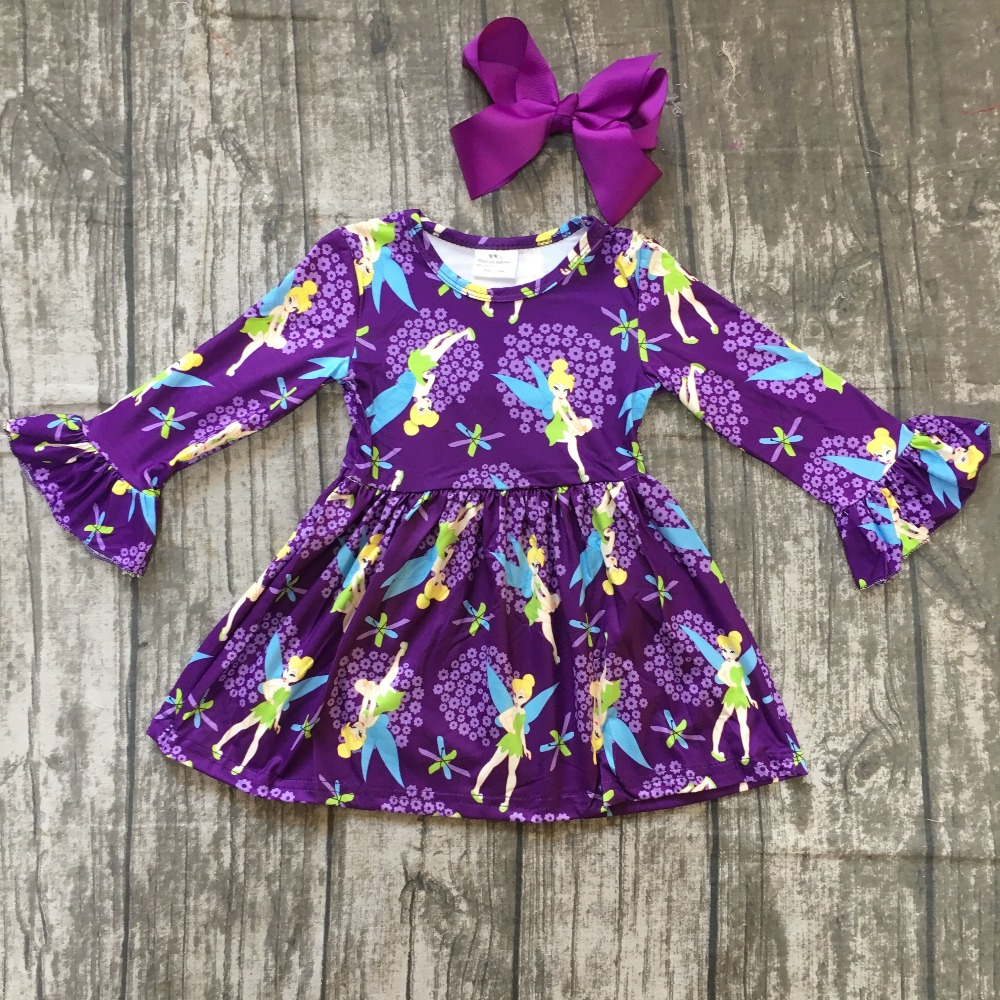 spring baby girls milk silk soft cotton dress purple Tin*ker Bell floral print ruffle long sleeve children clothes boutique kids bohemian bell sleeve floral midi dress